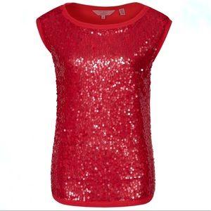 Ted Baker London Red Sequin Sleeveless Blouse S 4